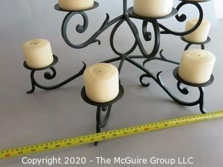 Large Wrought Iron 8 Light Floor Standing Candelabra