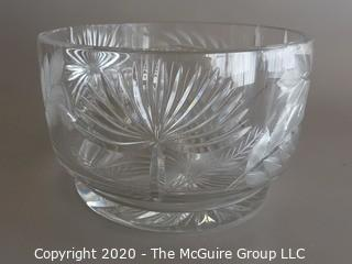 "Cut Crystal Bowl Signed Measures approx 8"" in diameter and 5"" tall"