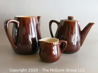 3 Piece Brown Porcelain Tea / Coffee Serving Set -One piece marked Villeroy & Boch Made in Luxembourg