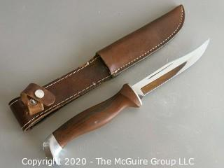 "Cutco 10"" Hunting Knife in Leather Sheath"