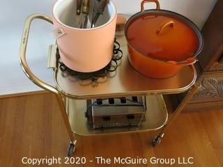 Collection including Chrome Tea Cart, Cast Iron Orange Casserole Pot, Pink Ice Bucket, Vintage Toaster and Misc Utensils
