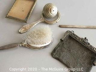 Group of Ladies Items including Small Silver Mesh Handbag, Frame, Brush etc
