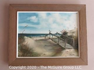 Framed Oil on Canvas Beach Scene Signed by Artist - Emmy Clay