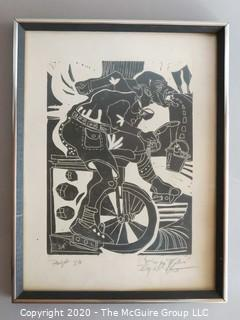 Framed Woodcut Proof Signed by Artist