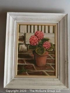 Framed Oil on Canvas Flowers in Pot  Signed by Artist - Emmy Clay