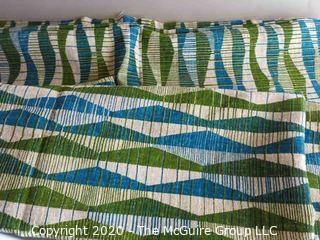 """Mid Century Decorators Fabric Barkcloth in Blue Green Pattern 42""""X 126"""" in 2 Pieces"""