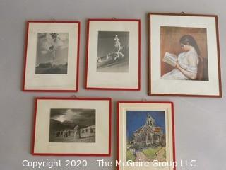 Group of Five Prints Under Glass