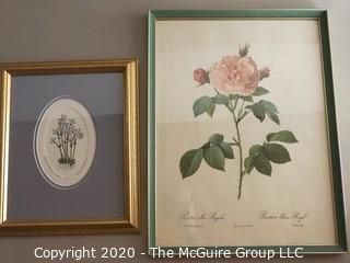 Two Framed Floral Prints