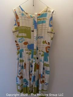 Vintage Ladies Sundress with Belt - French Script