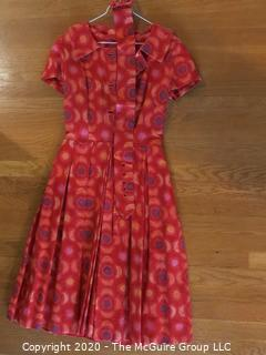 Red And Orange Print Dress