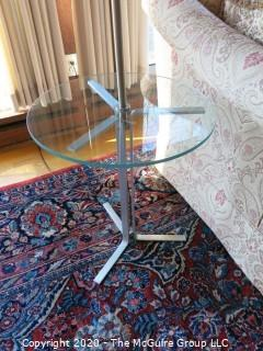 Glass Top End Table with Attached Chrome Lamp; works