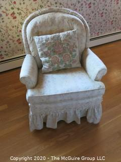 "White Upholstered Chair; 33"" tall at back x 24 wide at front"