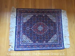 """Small Hand Woven Area Rug - Blue Background; 32 x 44"""""""