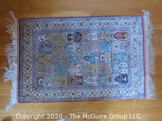 Hereke Hand Woven Silk on Silk Area Rug; 29 x 52""