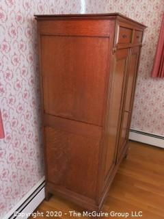 "Two Drawer over Two Door European Oak Wardrobe Cabinet; with key; 42 1/2"" wide x 20"" deep x 59"" tall"