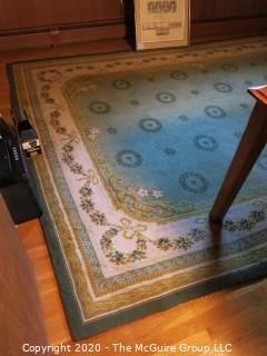 Hand Knotted Area Rug with Vine and Wreath Design; 96 x 136