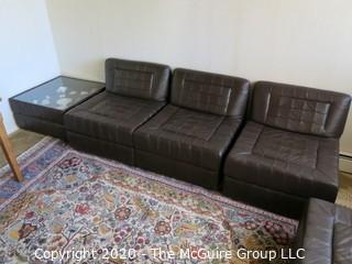 """Leather Sectional Seating - NOTE: THIS LOT IS COMPRISED OF (2) LEATHER SECTIONALS} each chair sectional is 27"""" x 30"""" x 14"""" tall"""