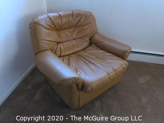 "Beige Leather Arm Chair; 30"" tall at back x 36"" wide at front x 15"" seat height"