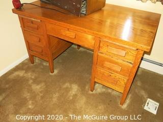 "Oak Office Desk with 7 Drawers; 30"" x 54"" x 30"" tall"
