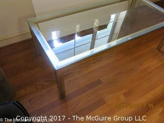 Modern Chrome and Glass Coffee Table; 24 x 51 x 20 1/2T