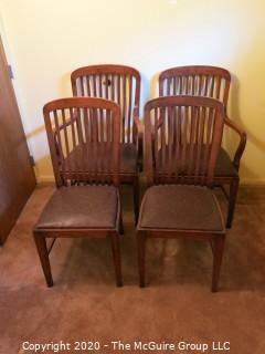 "4 European Oak Dining Chairs; 2 with arms; 39 1/2"" tall at back x 24"" wide at front x 18 1/2"" seat height"