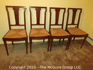 """Four Wooden Dining Chairs with Rush Seats; 37"""" tall at back x 17 1/2"""" seat height"""