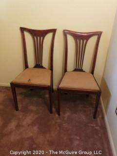 """2 Wooden Dining Chairs with cloth Seats; 38"""" tall at back x 19 1/2 seat height"""