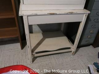 """White Distressed Cabinet on Table; 28w x 19""""d x 46 1/2"""" tall"""