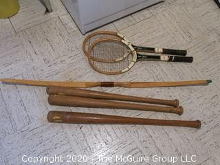 Vintage Baseball Bats, Tennis Rackets and Bow