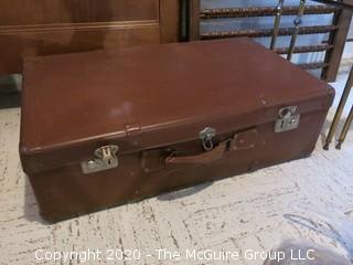 "Vintage Brown Suitcase; 17 x 30 x 9"""