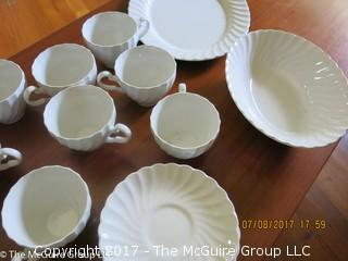 English Swirl Stoneware China; made by Johnson Bros.; Snowhite Regency Pattern