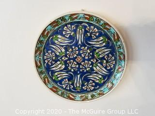 Hand Painted Volpi Durata Italy Ceramic Plate Flowers