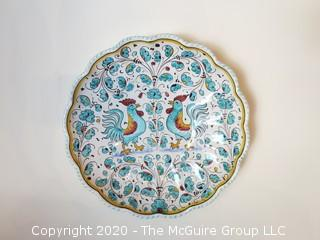 Hand Painted Volpi Durata Italy Ceramic Plate Roosters