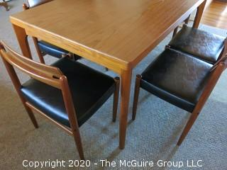 "Danish Mid Century MCM Dining Table (35"" x 55"" x 28 3/4"" tall) and Set of 6 Matching Chairs (29 3/4"" tall x 20"" wide at front and 17"" high at seat); (Note: 1 chair has a leg in need of reattachment)"