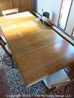 "English Oak Dining Table with pull-out end leaves; 40 x 84"" with both leaves extended; leaves are each 17 1/2"""