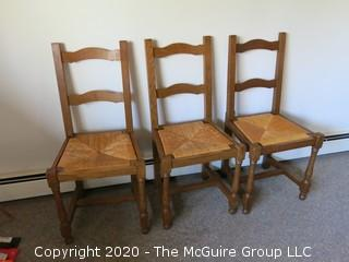Three Ladder Back Chairs with Rush Seats