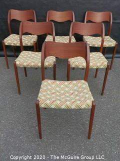 Set of (6) Danish No. 71 Chairs by Niels Otto Moller for J. L. Molle;  Mid Century Modern (MCM)