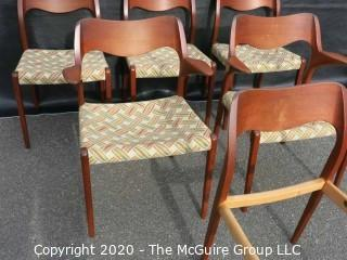 Set of Six Mid Century Modern (MCM) Danish Dining Chairs; (4) No. 71 side chairs; (2) No. 55 Arm Chairs; Niels Otto Moller; for J. L. Molle; circa 1960's