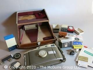 Vintage Polaroid 800 Camera in Leather Case; many accessories