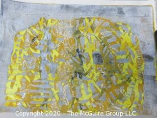 """Abstract print on woven paper; 9 x 12"""""""