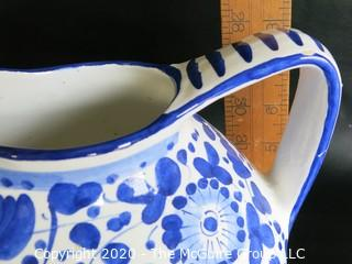 "Blue and White Hand Painted Pitcher by Chianti, approximately 8"" tall"