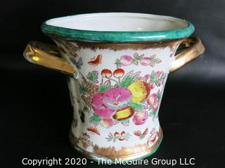 "Asian Inspired Two Handle Porcelain Urn, Measures Approximately 7"" tall"