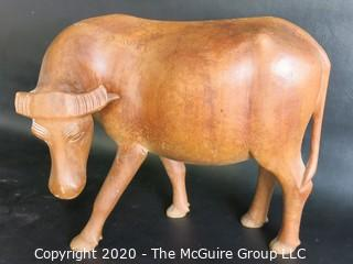 """Hand Carved Wooden Ox Figurine - As is Broken Horn - Measures approximately 10"""" tall and 22"""" long"""