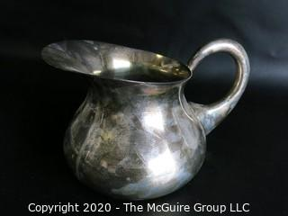 "Silver Plated Pitcher, measures approximately 5"" tall and 4"" wide; hallmark on base"
