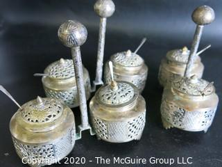 "Three Middle Eastern Salt Cellars with Open Work Design, Center Handle and Spoons.  Measures approximately 4"" tall including handle"