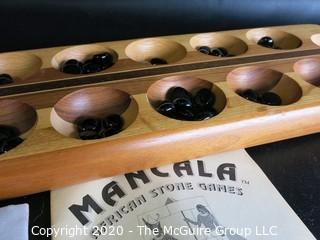 Mancala African Stone Game with Glass Game Pieces and Instructions