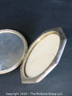 """Pair of two matching Asian Silver Plate Boxes with Hinged Lids. Measures approximately 3"""" in diameter"""