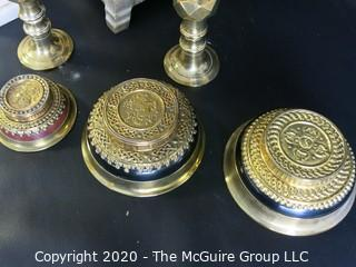 Group of Assorted Brass Candlesticks, Bowls and one Alabaster Candle Stick