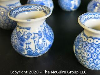 Group of 7 Asian Small Porcelain Ceramic Blue and White Pots with Mark
