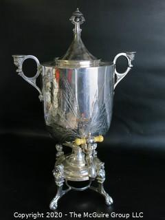 "Eastlake Victorian Silver Plated Coffee Urn with Figural Handles and Feet.  Measures approximately 18"" tall"